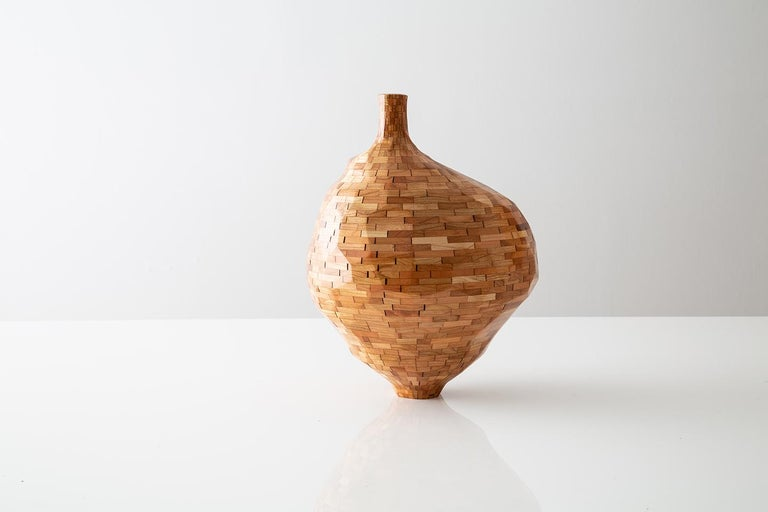 Carved Contemporary American Wooden Faceted Vase, Cherry, Small Sculpture, in Stock For Sale