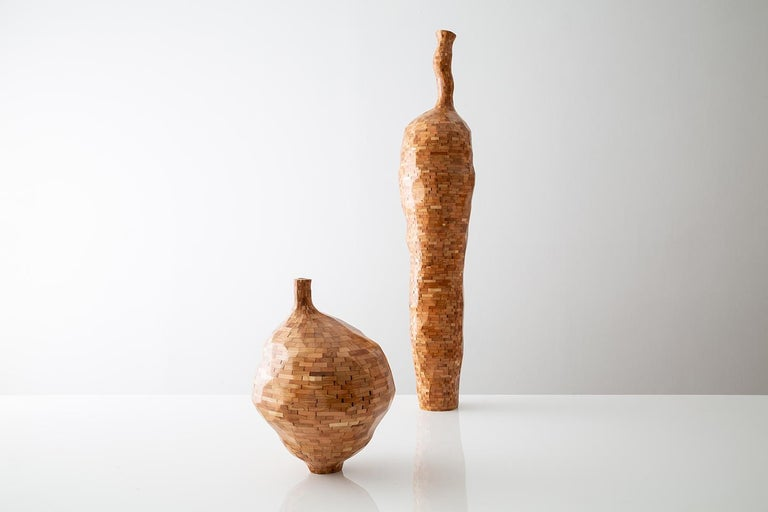 Ceramic Contemporary American Wooden Faceted Vase, Cherry, Small Sculpture, in Stock For Sale