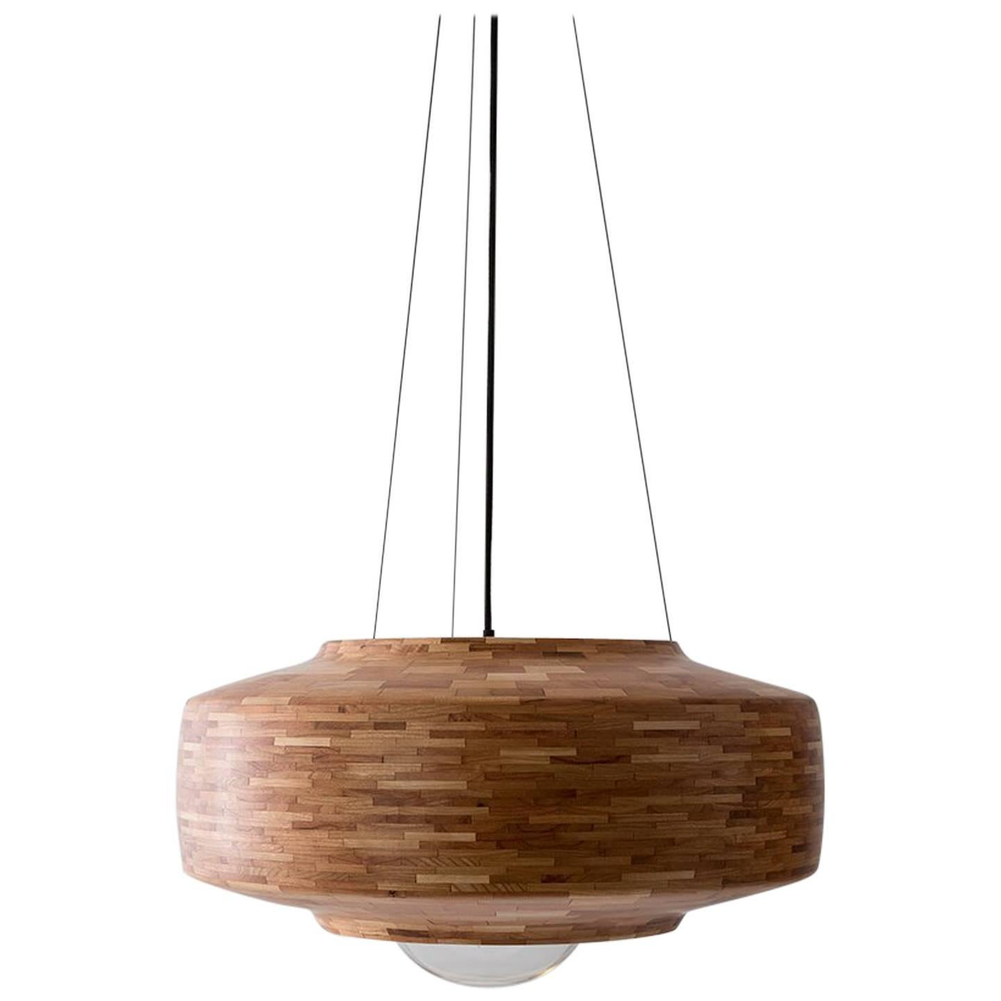 STACKED Saucer Pendant Light by Richard Haining, shown in Cherry, Customizable