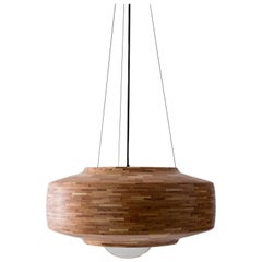 Contemporary Wooden Pendant Light by Richard Haining, Oversized Bulb, Custom