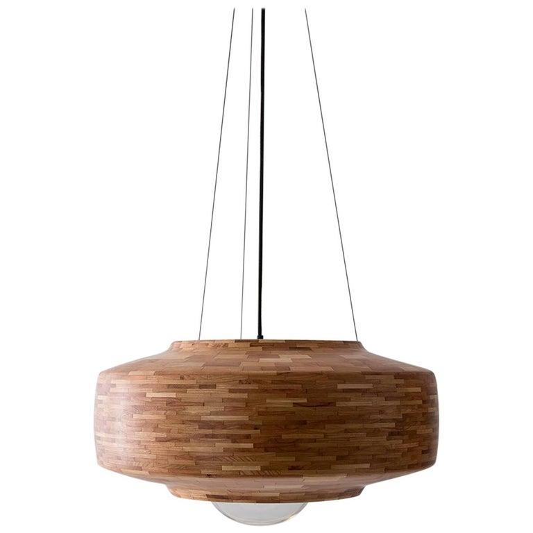Contemporary Wooden Pendant Light by Richard Haining, Oversized Bulb, Custom For Sale