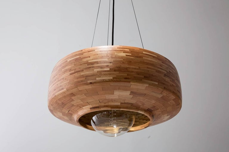 Laminated Contemporary Wooden Pendant Light by Richard Haining, Oversized Bulb, Custom For Sale