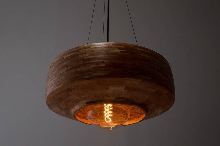 Metal Contemporary Wooden Pendant Light by Richard Haining, Oversized Bulb, Custom For Sale