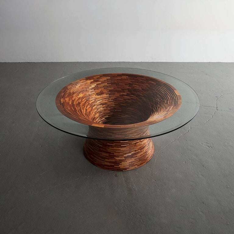 Modern STACKED Round Coffee Table by Richard Haining, Custom For Sale