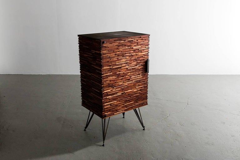 Blackened Contemporary Cellarette, Cabinet, Dry Bar, Mahogany, Customizable, In Stock For Sale