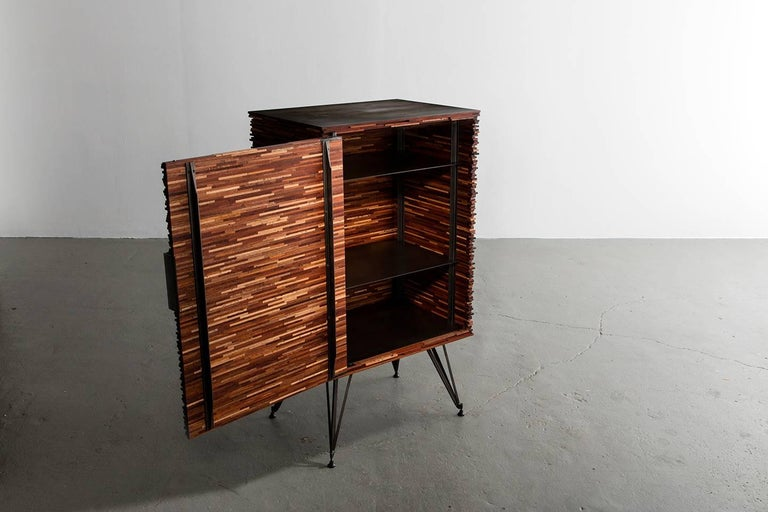 Contemporary American Cellarette, Cabinet, Mahogany, Steel Base, Available Now 4
