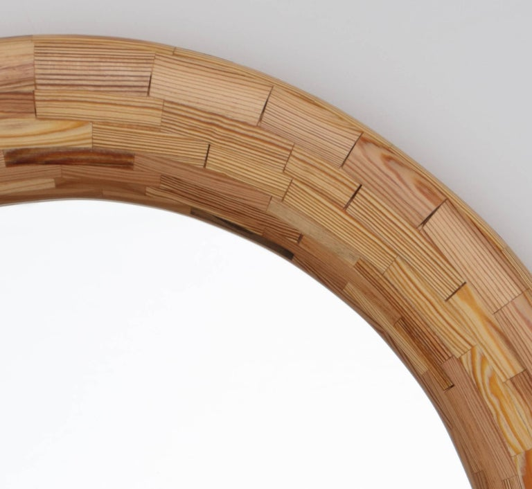 Modern Contemporary STACKED Heart Pine Round Wall Mirror by Richard Haining, In Stock For Sale