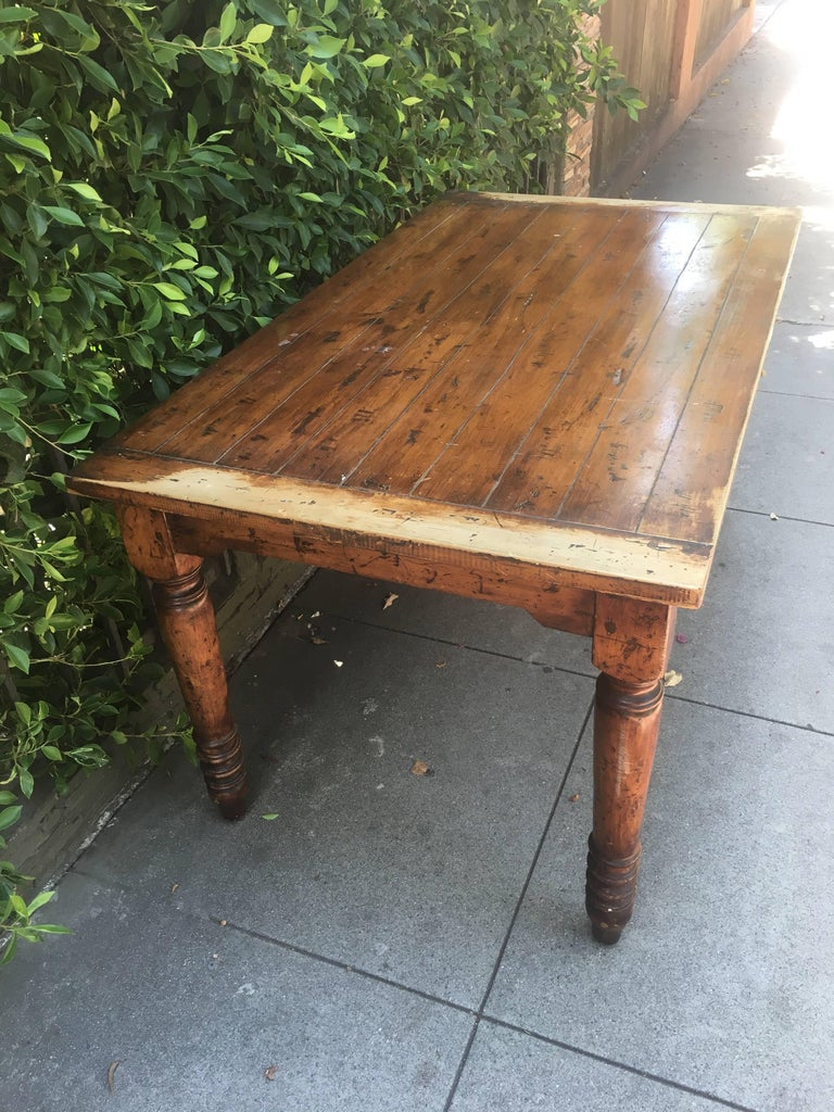 44f2687594afb Vintage Wooden Dining Table with Turned Legs at 1stdibs