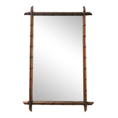19th Century French Colonial Bamboo Mirror