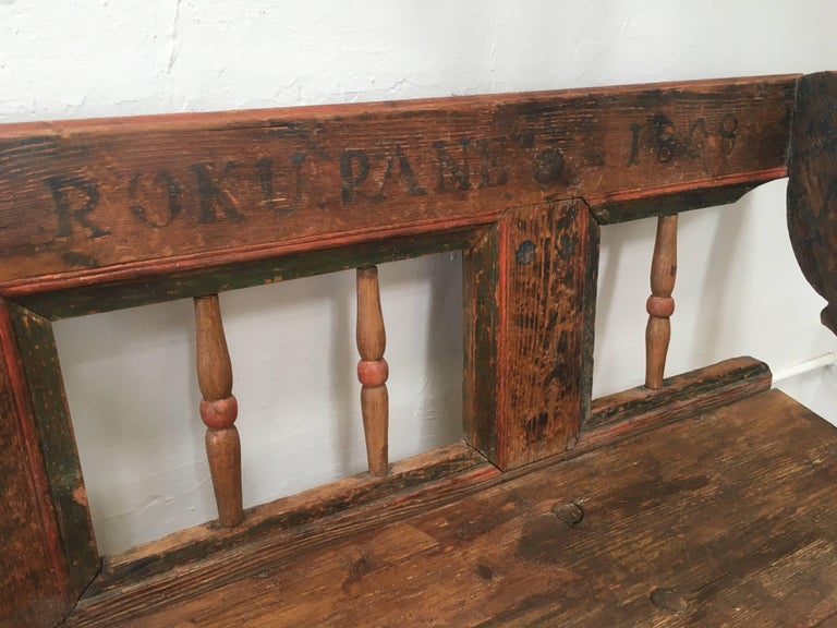 Antique European Bench, 1860s In Excellent Condition For Sale In Los Angeles, CA