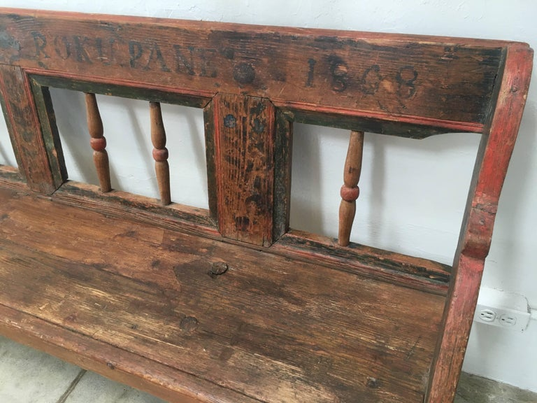 19th Century Antique European Bench, 1860s For Sale