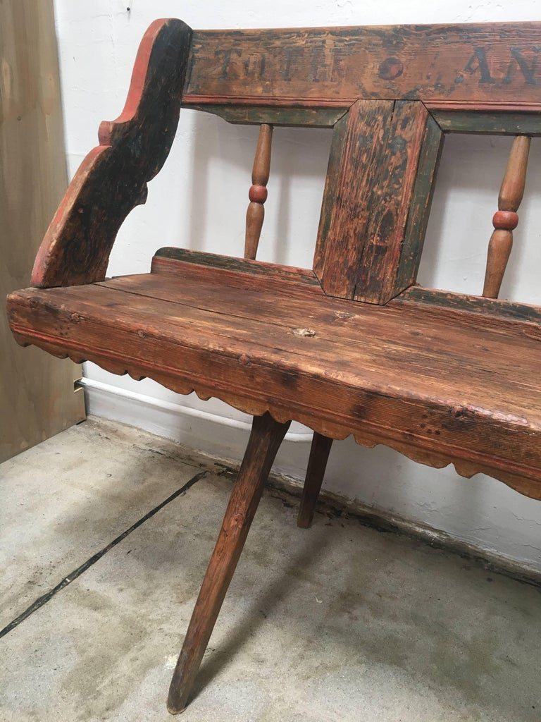 Wood Antique European Bench, 1860s For Sale