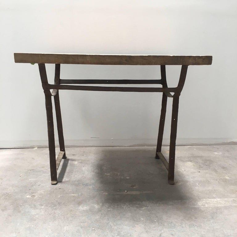 19th Century Wood and Metal Trestle Table In Good Condition For Sale In Los Angeles, CA