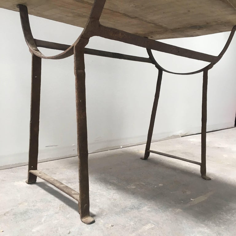 19th Century Wood and Metal Trestle Table For Sale 1