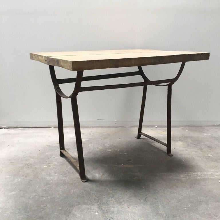 19th Century Wood and Metal Trestle Table For Sale 2