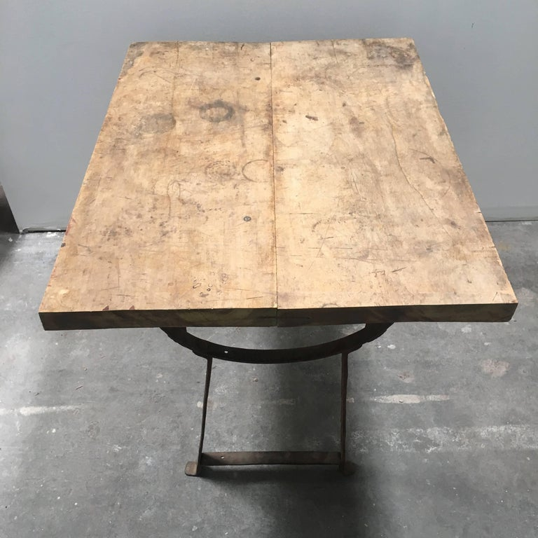 European 19th Century Wood and Metal Trestle Table For Sale