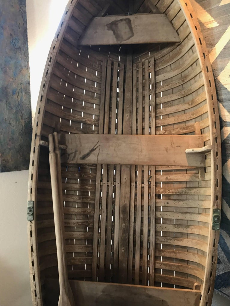 Antique Wooden Rowboat With Two Oars For Sale At 1stdibs