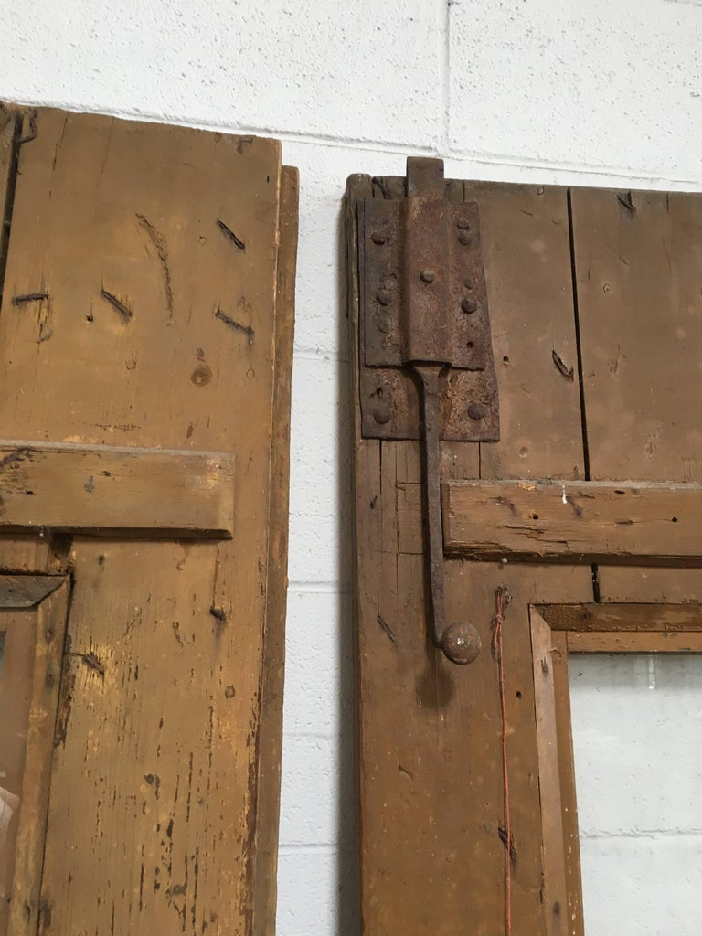 Oak Pair of Antique European Farm Doors For Sale