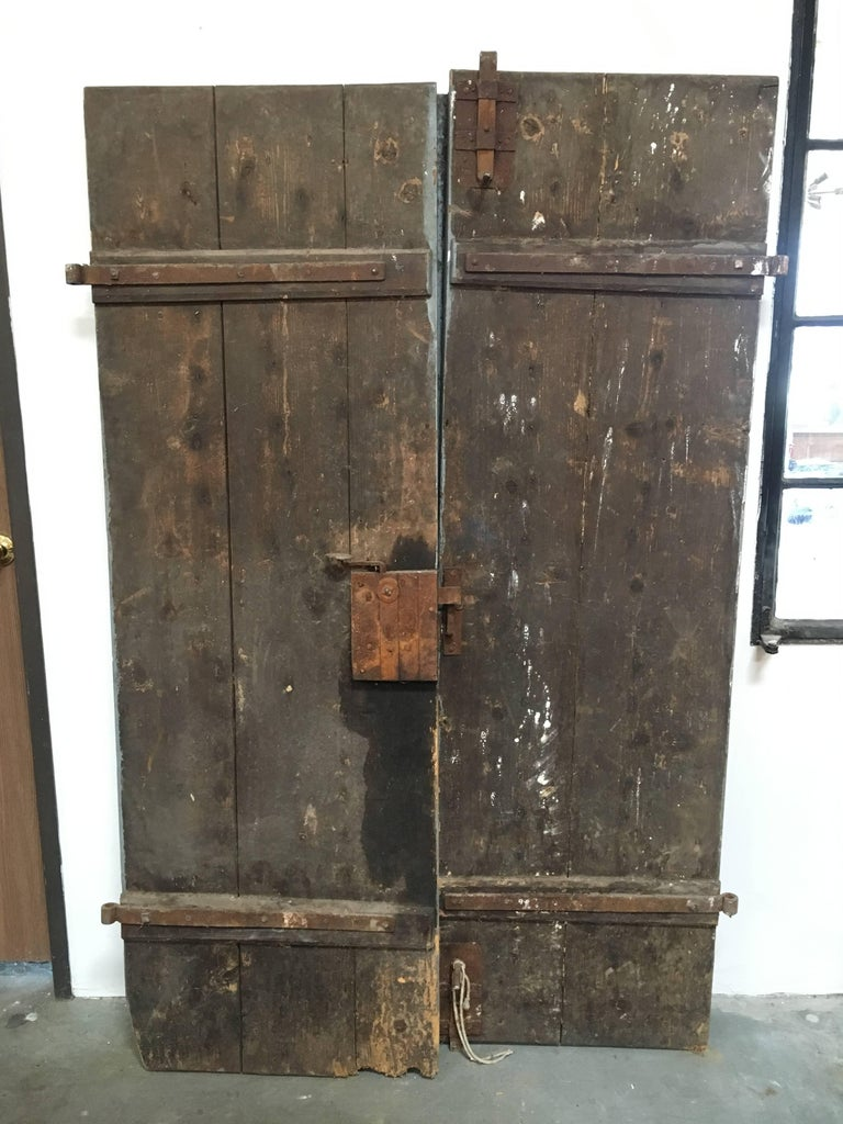 Pair of Antique French Painted Farm Doors In Good Condition For Sale In Los Angeles, CA