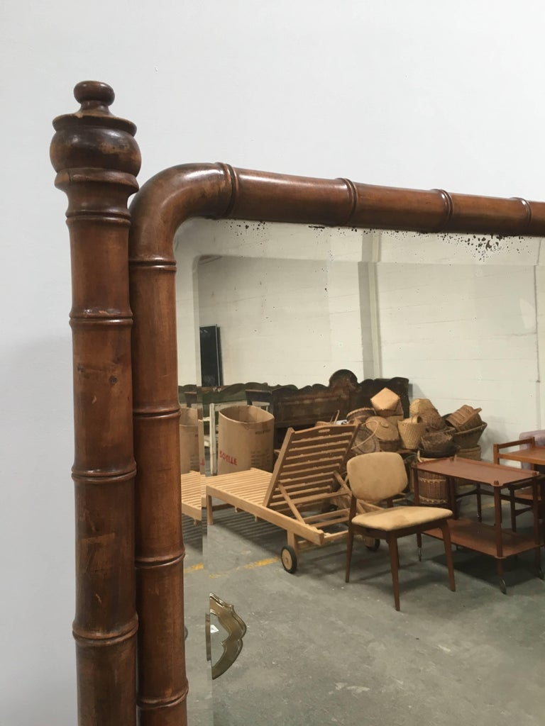 Late 1800s French Colonial Faux Bamboo Floor Mirror In Good Condition For Sale In Los Angeles, CA