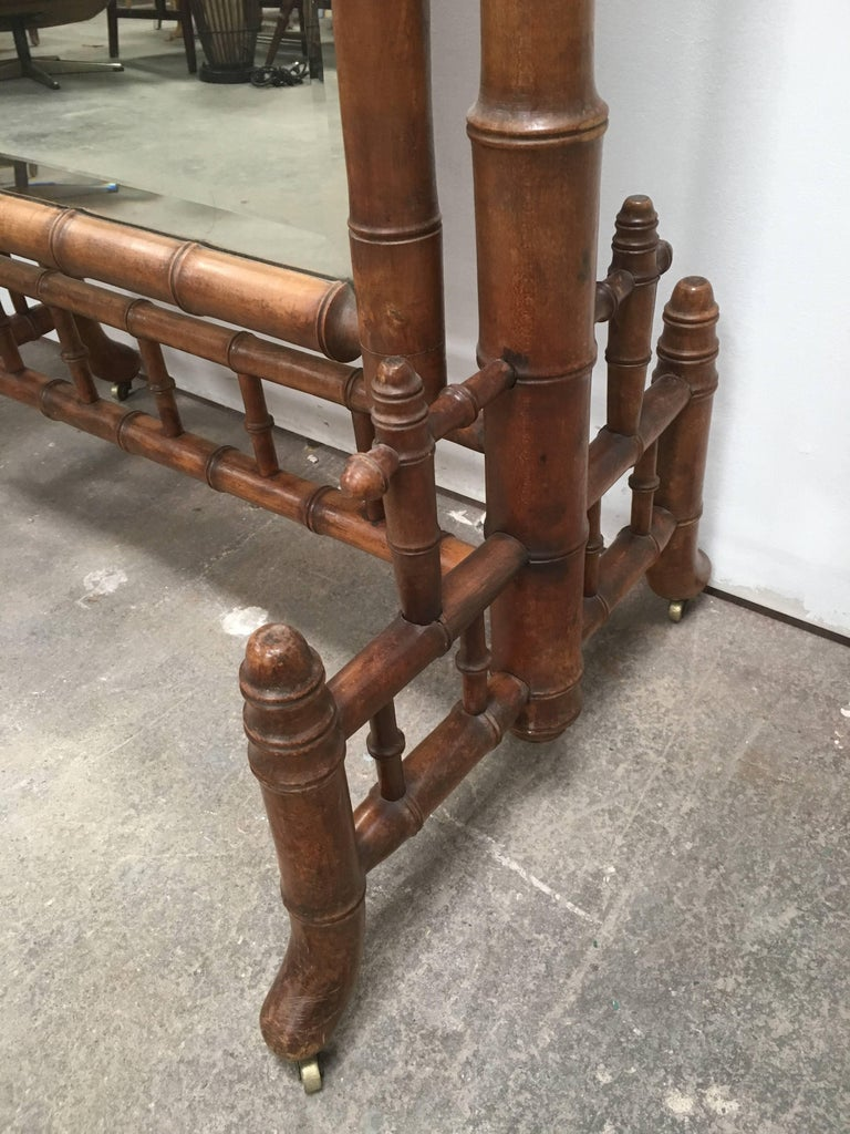 19th Century Late 1800s French Colonial Faux Bamboo Floor Mirror For Sale