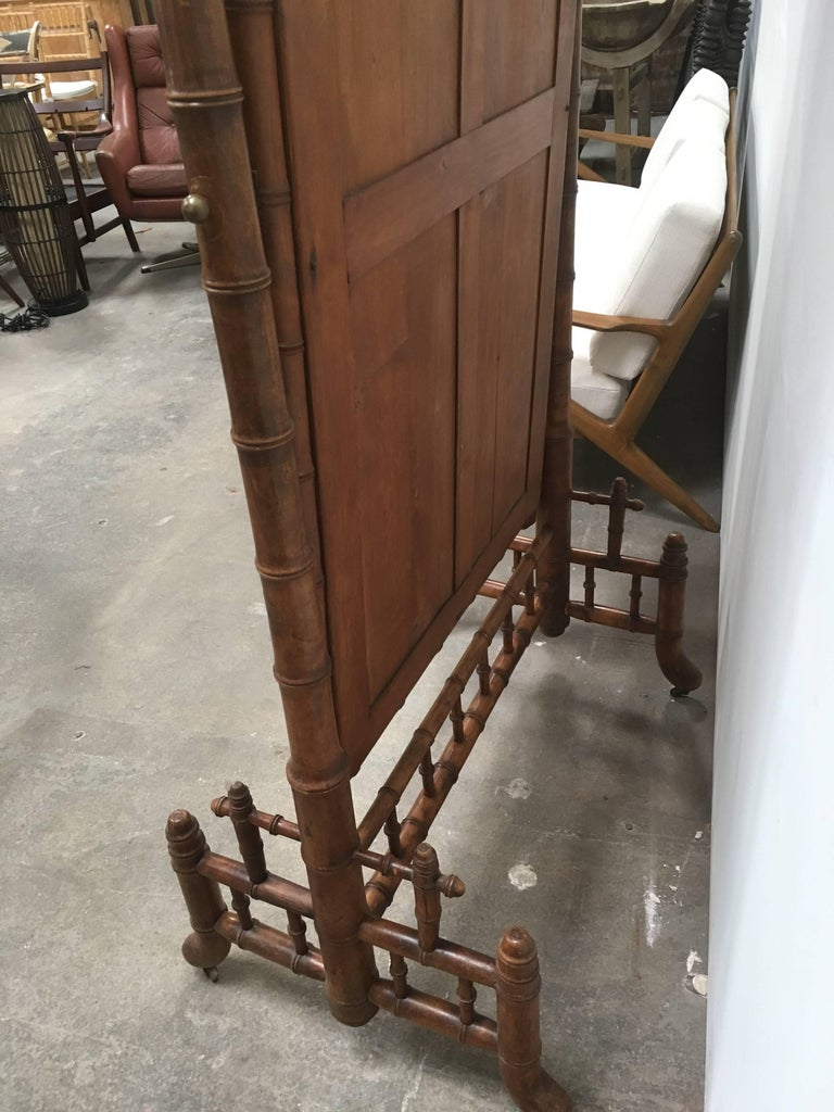 Late 1800s French Colonial Faux Bamboo Floor Mirror For Sale 1