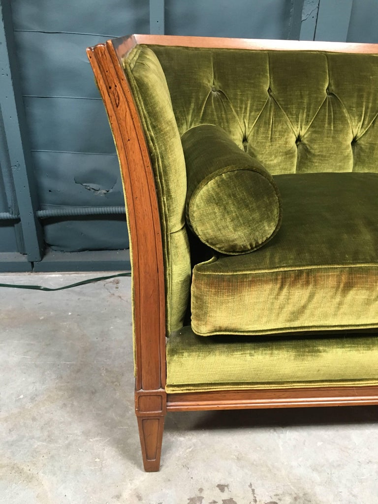 Antique French Velvet Chesterfield Sofa In Excellent Condition For Sale In Los  Angeles, CA - Antique French Velvet Chesterfield Sofa At 1stdibs