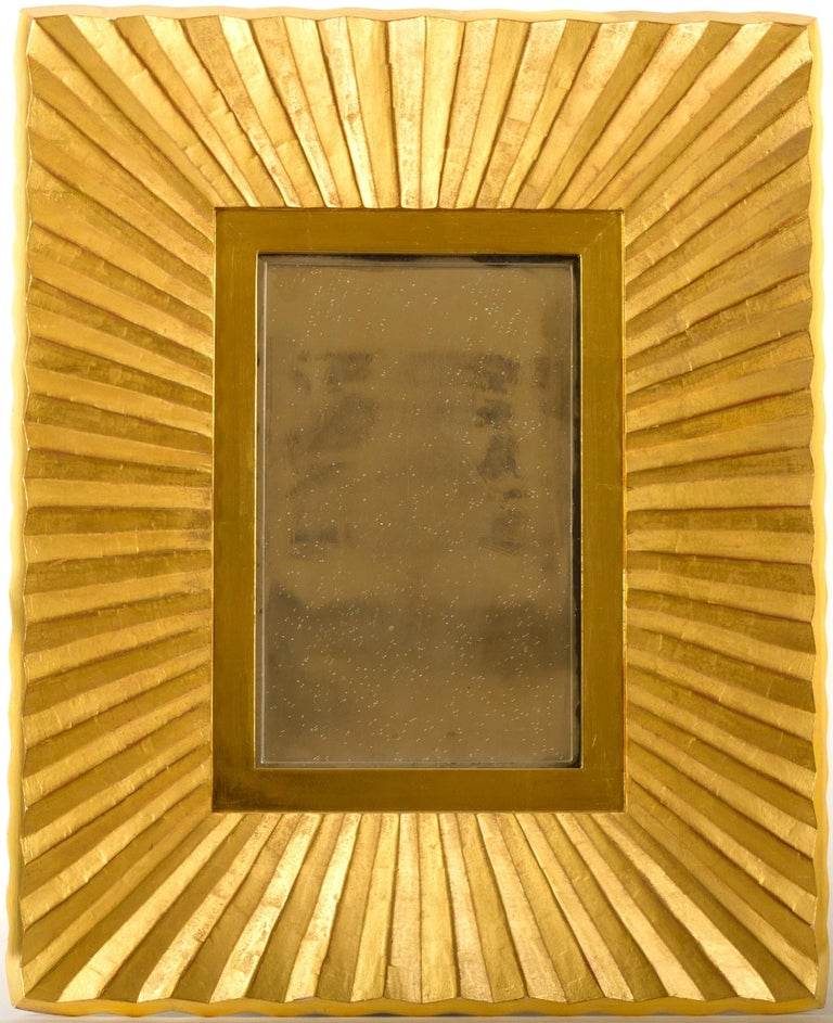 American Bark Frameworks 23-Karat Gold Pleated Wall Mirror, Designed by Jared Bark For Sale
