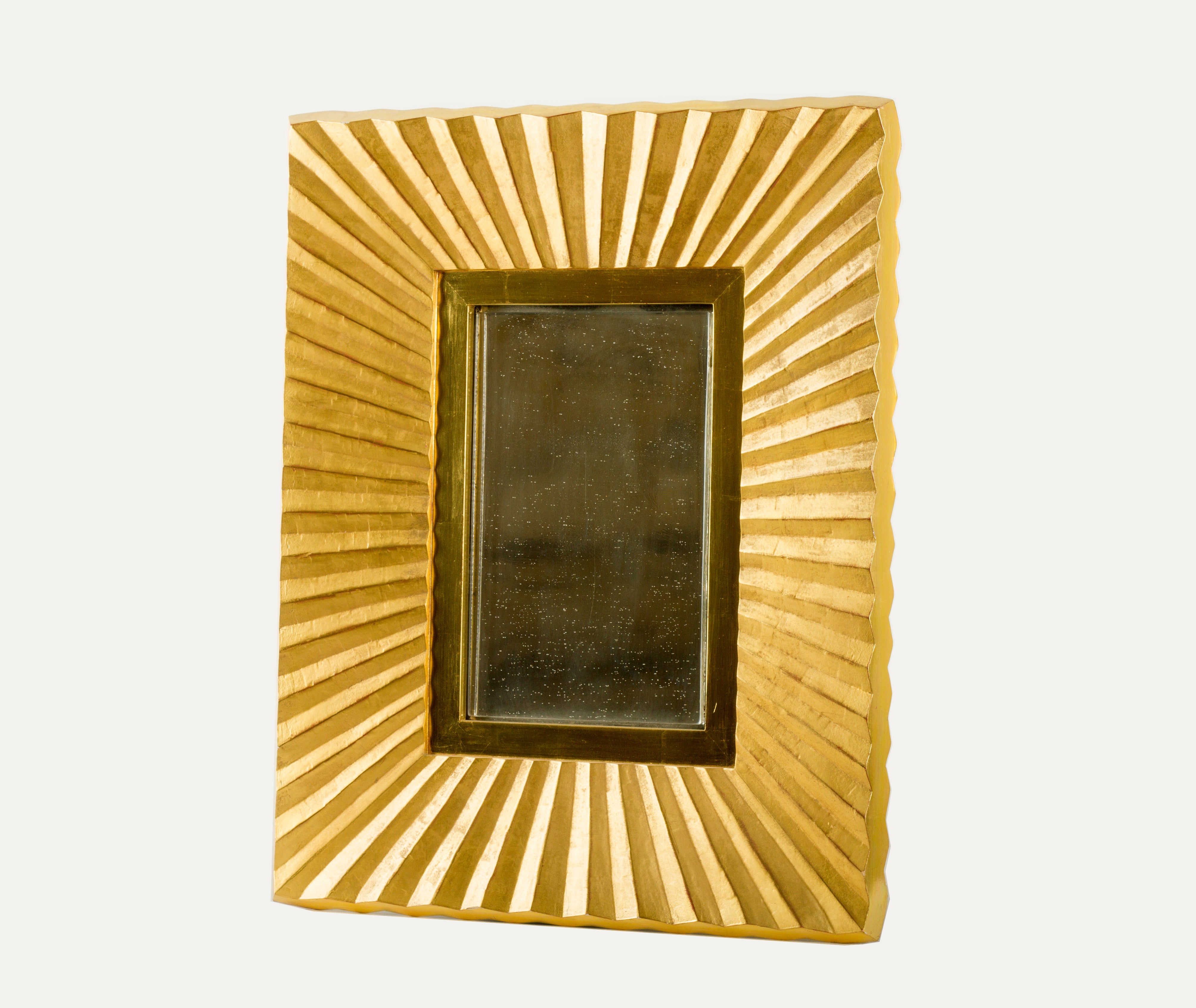 Bark Frameworks 23 Karat Gold Pleated Wall Mirror, Designed By Jared