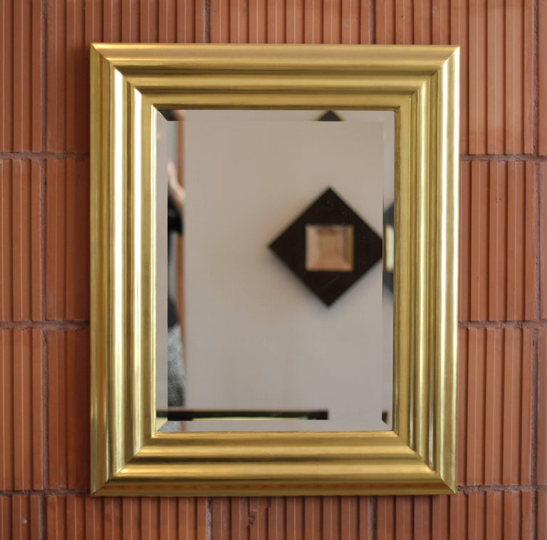 Burnished Degas No. 6 Ripple Wall Mirror, Gilded in 23kt Yellow Gold, by Bark Frameworks For Sale
