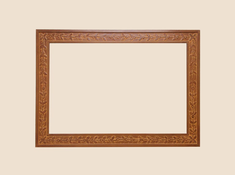 American Bark Frameworks Nabi Wall Mirror with Custom Tile Print from Jozsef Rippl-Ronai For Sale