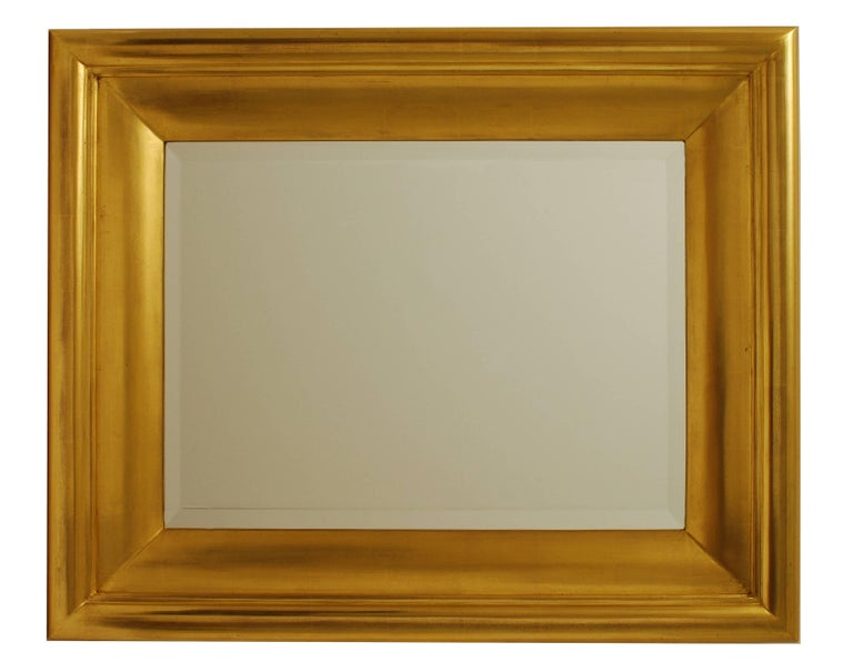 Degas No. 5 Modern Wall Mirror, Gilded in 23-Karat Yellow Gold, Bark Frameworks In Excellent Condition For Sale In Long Island City, NY