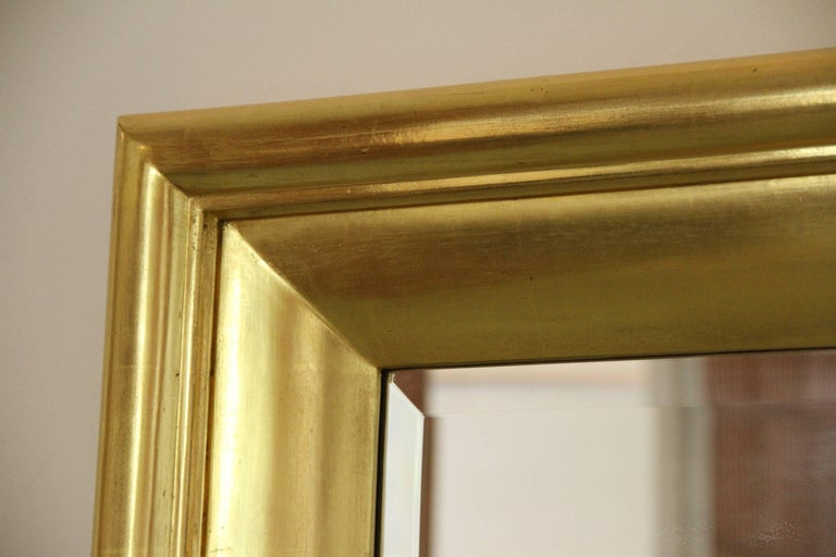 Contemporary Degas No. 5 Modern Wall Mirror, Gilded in 23-Karat Yellow Gold, Bark Frameworks For Sale