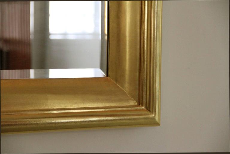 Degas No. 5 Modern Wall Mirror, Gilded in 23-Karat Yellow Gold, Bark Frameworks For Sale 1