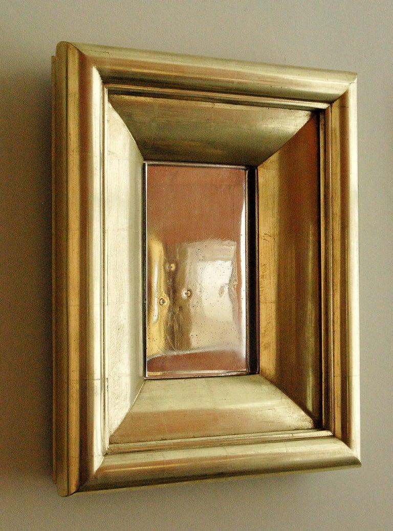 Burnished Degas No. 5 Modern Wall Mirror, Gilded in 23-Karat Yellow Gold, Bark Frameworks For Sale