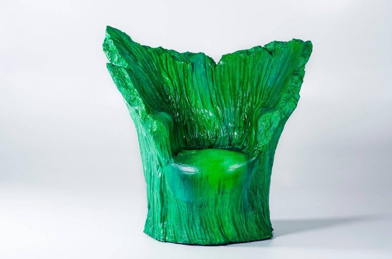 "Armchair ""Green"" and Pouf Hand-Carved Polyurethane Body Numbered from 1 to 30 2"