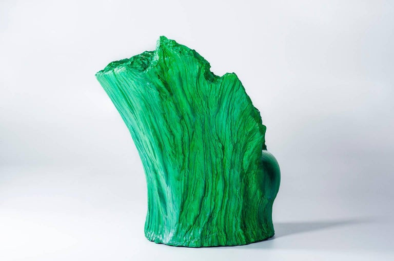 "Armchair ""Green"" and Pouf Hand-Carved Polyurethane Body Numbered from 1 to 30 3"