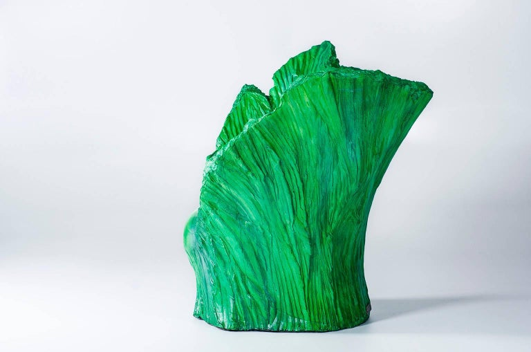 "Armchair ""Green"" and Pouf Hand-Carved Polyurethane Body Numbered from 1 to 30 4"