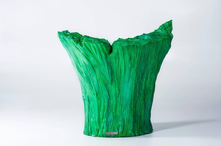 "Armchair ""Green"" and Pouf Hand-Carved Polyurethane Body Numbered from 1 to 30 5"