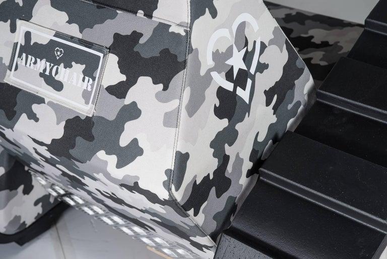 "Italian Armchair ""Armychair Cap "" Handcrafted Polyurethane Foam Camo Urban For Sale"