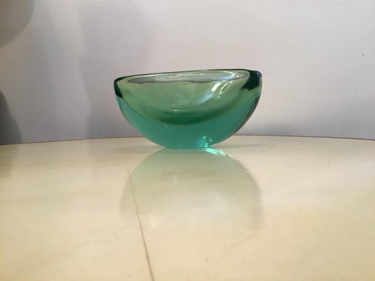 Italian Archimede Seguso Oval Bowl, Green Submerged Glass Centrepiece, 1950 For Sale
