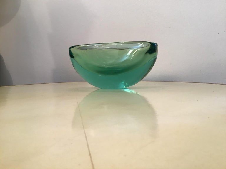Other Archimede Seguso Oval Bowl, Green Submerged Glass Centrepiece, 1950 For Sale