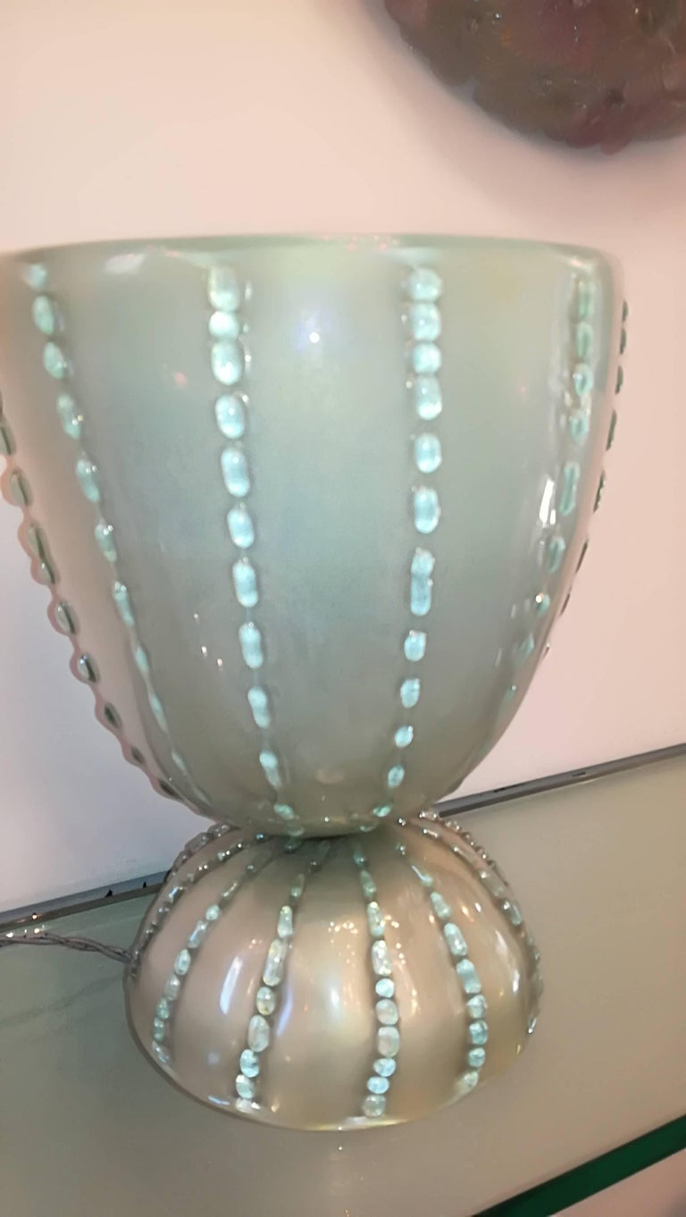 Table Lamp 1950 Color Green, Gold, Color Green Iridescent, Glass In Excellent Condition For Sale In Milano, IT