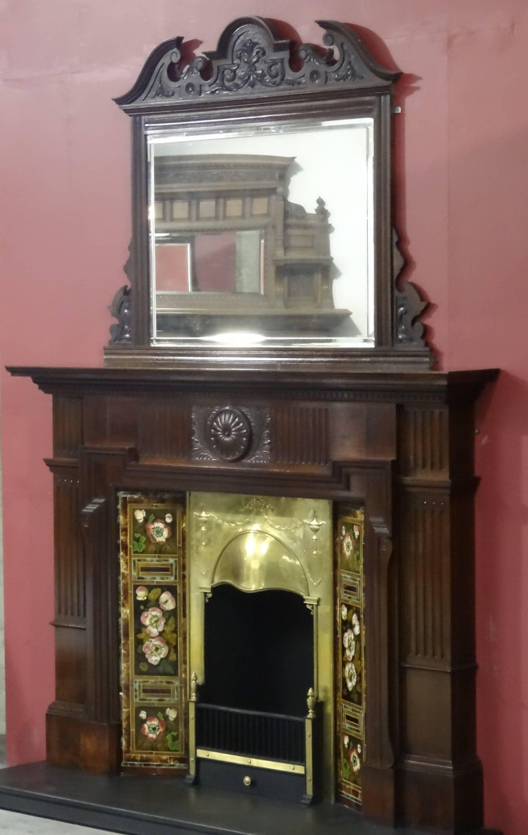 edwardian mahogany fire surround with mirror brass insert and tile