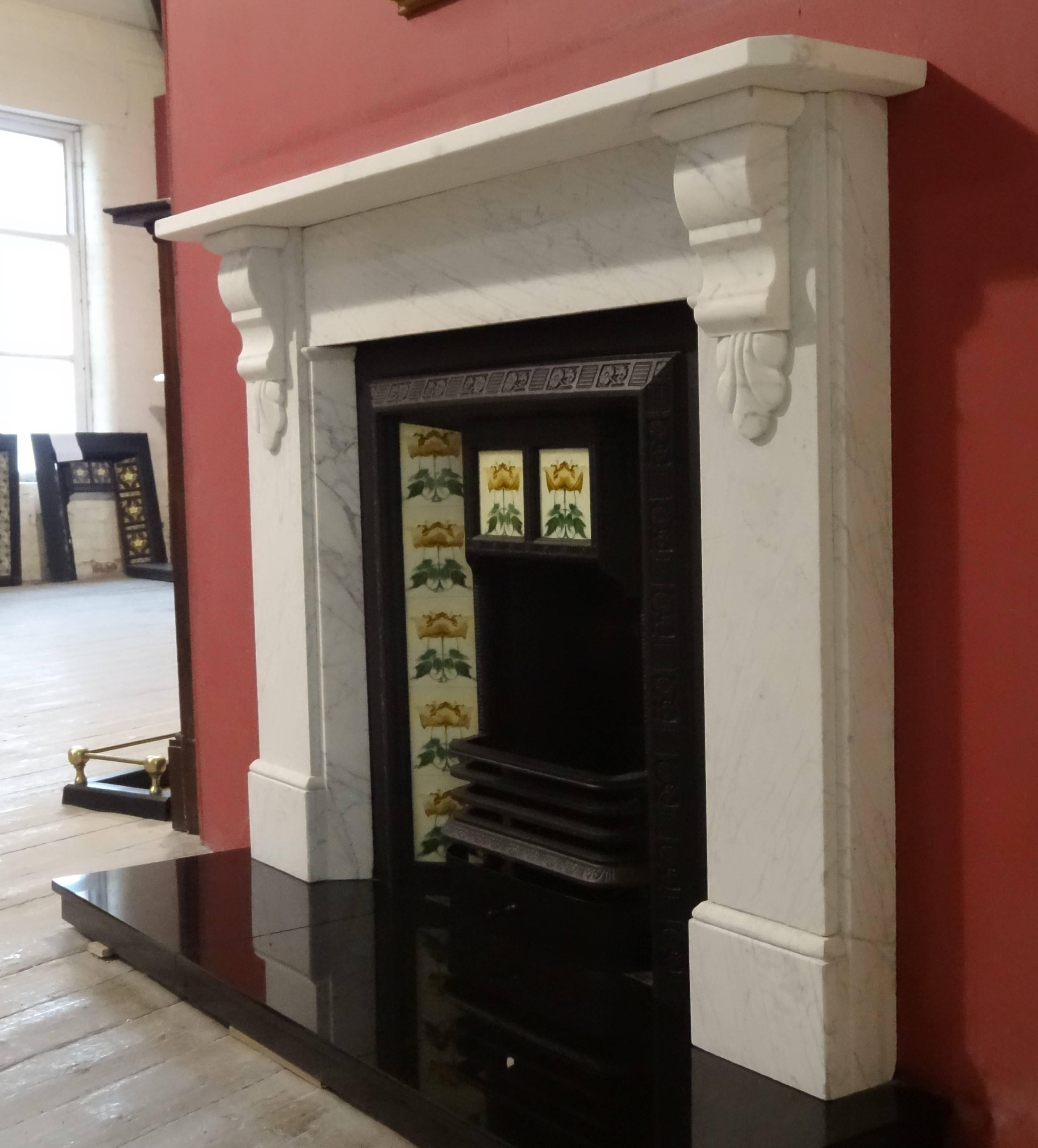 White Fire Surround Part - 26: 19th Century Victorian White Carrara Marble Fire Surround 3