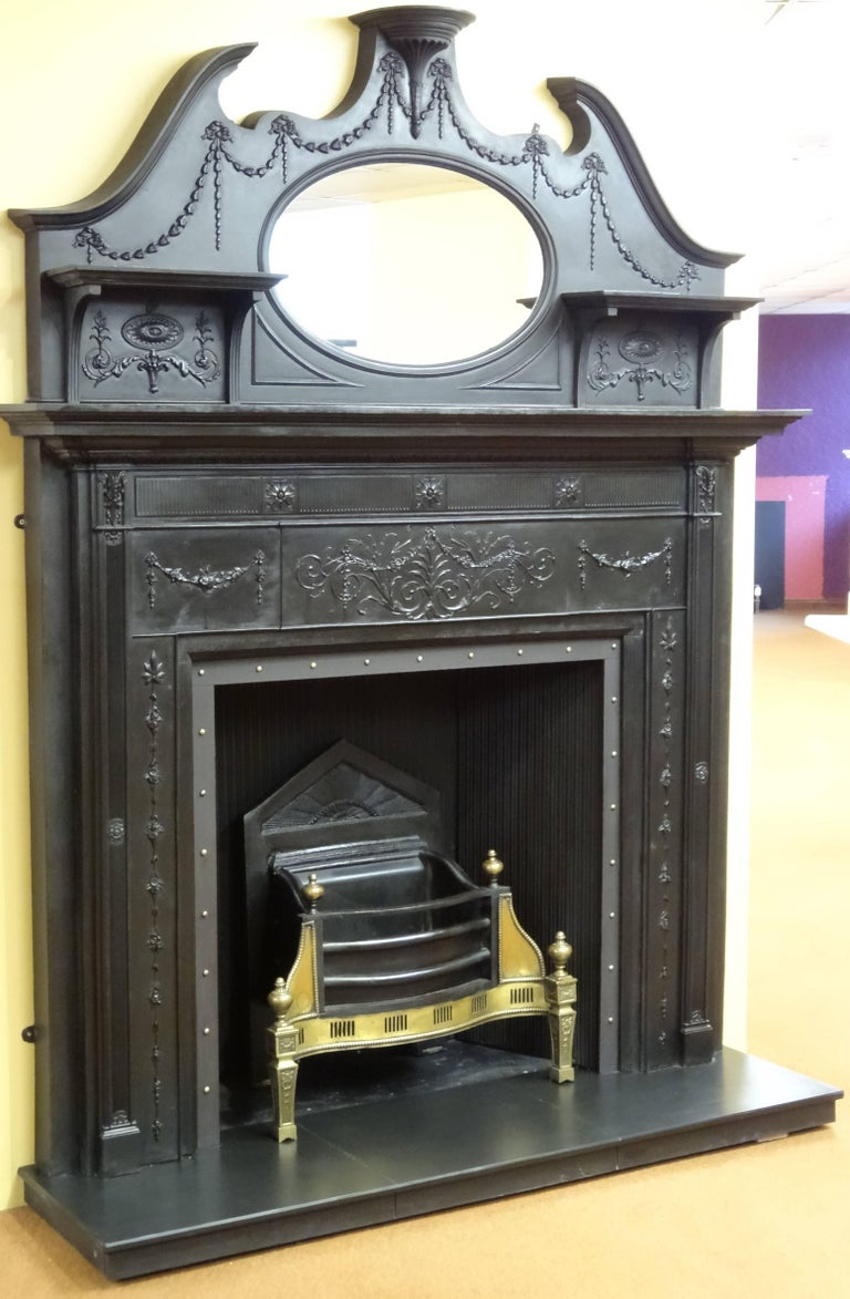 19th century victorian cast iron fire surround with matching