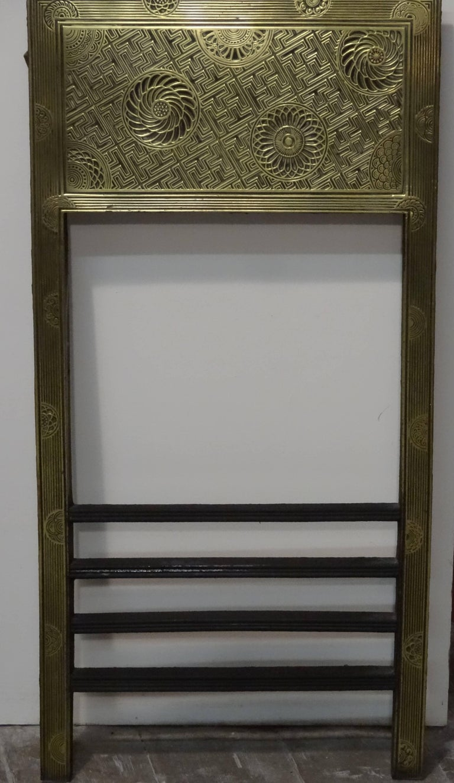 19th century thomas jeckyll brass and iron fire surround insert