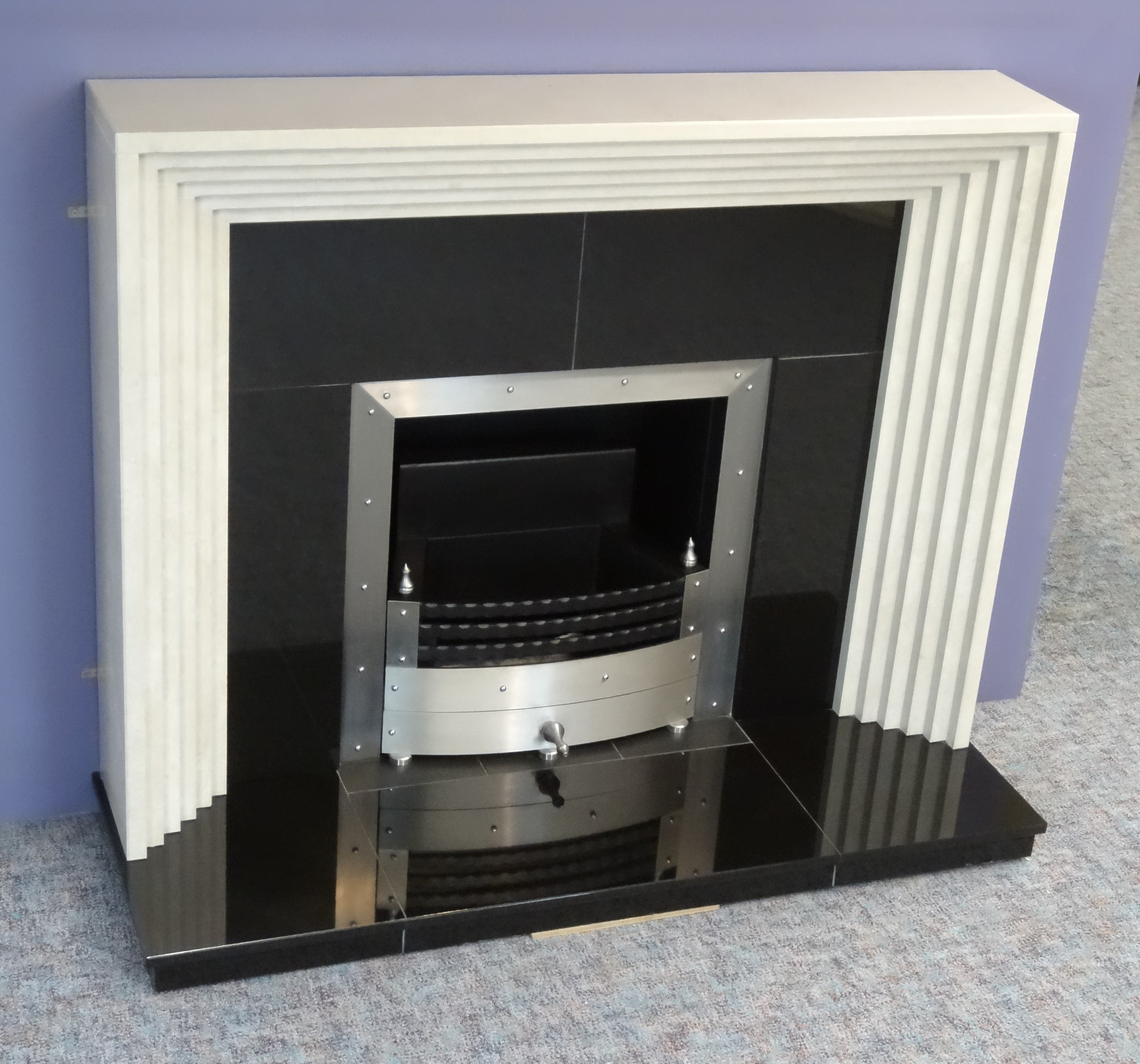 Irish Art Deco Style Marble And Granite Fireplace With Steel