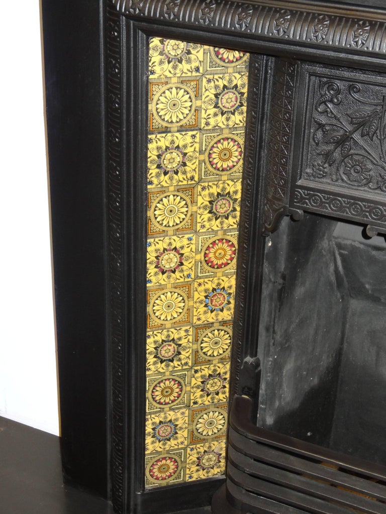 irish 19th century victorian cast iron fireplace insert grate with
