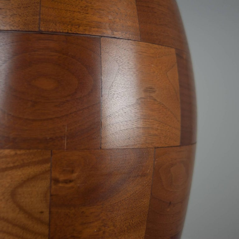 Mid-Century Modern Staved Walnut Block Ovoid Lamp For Sale